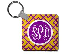 Purple/Yellow Argyle Key Chain