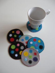 Polka Dot Felt Coasters by Oshome on Etsy, $25.00