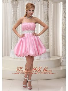Buy puffy strapless ruched beading pink mini length homecoming dress from  sweet homecoming dresses collection 76f0364e0031