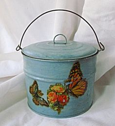 Vintage Painted Metal Lunch Pail with Butterflies-c.1940s. Click on the image for more information.
