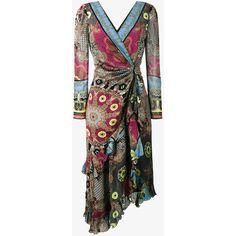 Etro Deep-V Printed Wrap Dress ($2,770) ❤ liked on Polyvore featuring dresses, brown, bohemian dresses, brown dresses, long sleeve silk dress, boho wrap dress and long sleeve boho dress