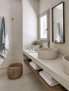 Bathroom space Phos House by Stone Walls Greek Islands est living Modern Bathroom Decor, Bathroom Interior Design, Minimal Bathroom, Bathroom Lighting, Neutral Bathroom, Bathroom Designs, Colorful Bathroom, Dyi Bathroom, Scandinavian Bathroom
