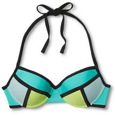 Women's Bandeau Push Up Bikini Top Xhilaration ($25) ❤ liked on Polyvore featuring swimwear, bikinis, bikini tops, bandeau swim tops, push up swim top, push up bikini, push up swimwear and tankini top