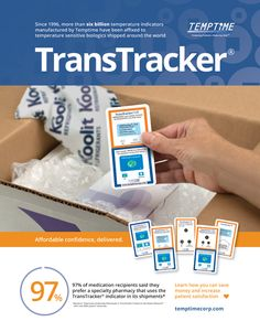 TempTime - TransTracker - Since 1996, more that six billion temperature indicators have been affixed to temperature sensitive biologics shipped around the world (As seen in the 2016 Pharmacy Platinum Pages Buyer's Guide: rxplatinumpages.com).