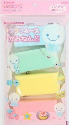 """Fuwa Fuwa paper clay Japan decoden 4 colours by Kawaii. $10.90. 4 colours: blue, green, yellow and pink. DIY mousse for making your own miniature sweets etc.. the clay is very soft and is called """"Fuwa Fuwa clay"""" in Japan, """"Fuwa Fuwa"""" means """"soft like a cloud"""" in Japanese. can be mixed with paint or ink to get a different clay colour. content:, mousse 80gr (each colour about 20gr), incl. instructions with pictures. soft DIY clay for making miniature sweets from Japan"""