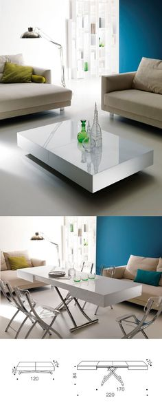 Check out this From coffee table to dining table, perfect for tiny house living. Although this is TOO contemporary for me. The post From coffee table to dining table, perfect for . Multifunctional Furniture, Smart Furniture, Space Saving Furniture, Dining Furniture, Furniture Makeover, Home Furniture, Furniture Design, Furniture Ideas, Coffee Table To Dining Table