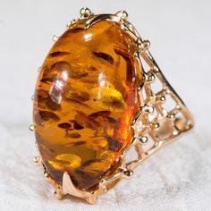 Incredible Russian Baltic Amber Ring 14k Rose Gold