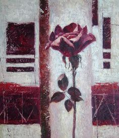 Purple Rose Flower Flower, Rose Contemporary Oil Painting  24 x 20 inches
