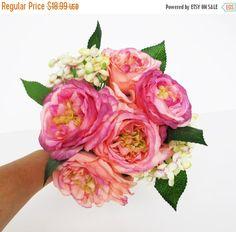 ON SALE Creamy Pink Silk Roses Peonies Hydrangea by Mycozyworld