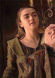 Arya Stark & Walder Frey (6x10). Arya gets stabby and enjoys it just *a tad* too much.