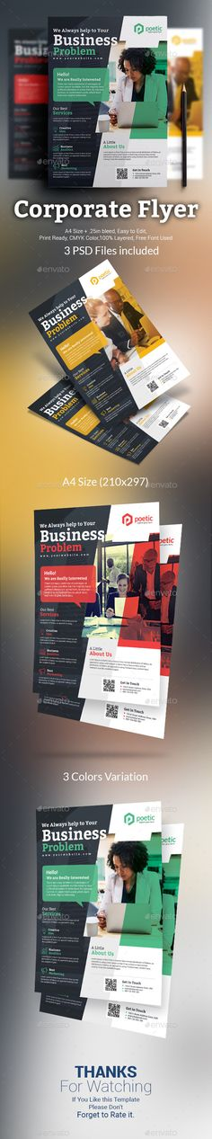 Buy Corporate Flyer by themexone on GraphicRiver. It can be use for any business as well as personal or freelance business also like corpora. Business Leaflets, Design Package, Identity, Insert Image, Color Profile, Business Flyer Templates, Corporate Flyer, Wedding Humor, Graphic
