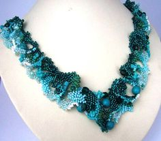 Beaded jewelry Freeform peyote beaded art necklace by ibics, $128.00