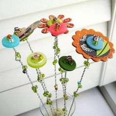 Button Flower Bouquet, Button Flower Stems, Button Flower Arrangement - 7 Stem Button Flowers, Beaded Stems No. Button Bouquet, Button Flowers, Crafts To Make, Fun Crafts, Crafts For Kids, Diy Buttons, Vintage Buttons, Button Art, Button Crafts