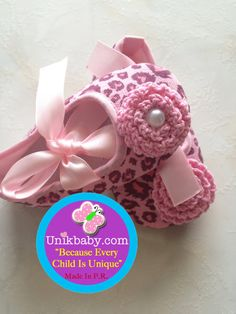 Boutique Style Ballerina Pink Leopard Crib Shoes by Unikbaby, $10.00