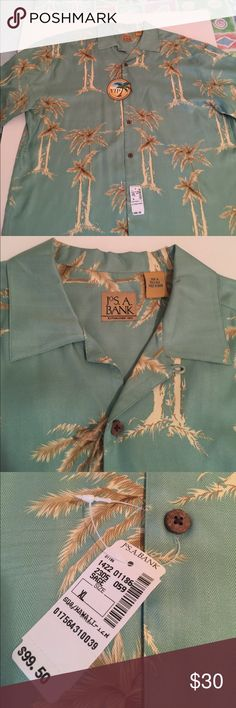 """BRAND-NEW JOS. A. BANK CASUAL BUTTON-DOWN SHIRT Casual or vacation shirt with tan and brown palm trees on seafoam green. Measurements laying flat: shoulders left to right 23.5,"""" armpit to armpit 26,"""" mid shoulder to hem 31"""". 💯 Silk, dry clean only. NEVER WORN🍒 Jos. A. Bank Shirts Casual Button Down Shirts"""