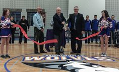 Ross Hodgins of RV City and Frontier Honda and Greater St. Albert Catholic Schools Superintendent David Keohane do a ceremonial ribbon cutting to officially open the new MCHS gymnasium. Volleyball Tournaments, Pep Rally, Catholic School, Local Events, Lions, Schools, Rv, Honda, Competition