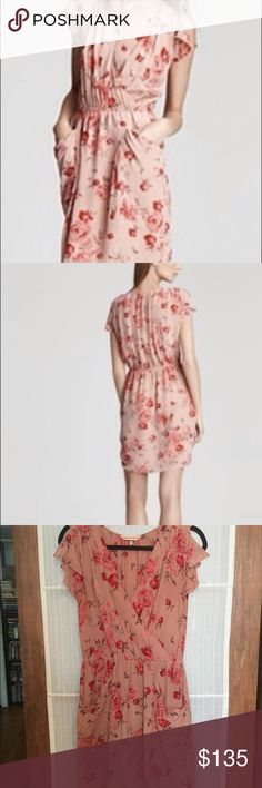 Rebecca Taylor rose garden dress Silk V Neck with pockets pink and red rose garden dress. Rebecca Taylor Dresses Midi