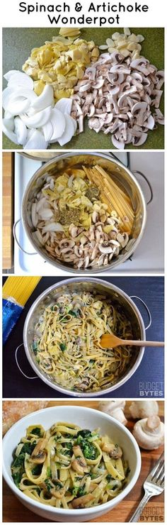 ONE POT spinach and artichoke pasta