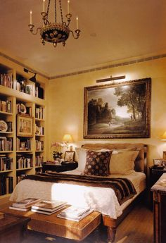 Charlotte Moss designed small bedroom with yellow walls and a wall of books. I LOVE the book shelves and could feel so at home in this room. Home Bedroom, Bedroom Interior, Bedroom Design, Dreamy Bedrooms, Beautiful Bedrooms, Interior Design, Home Decor, House Interior, Interior Design Secrets