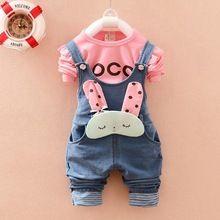 Jesień Zima dziewczynek Litera T-Shirt + Denim Jeans Rabbit Kombinezony Kombinezony Spodnie dwa kawałki Odzież dla dzieci Zestawy Roupas de bebe (Chiny (kontynentalne))