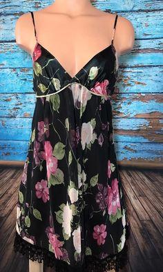 Oscar De La Renta Women's Floral Babydoll Pajamas Sz M Medium Black Chemise  | eBay