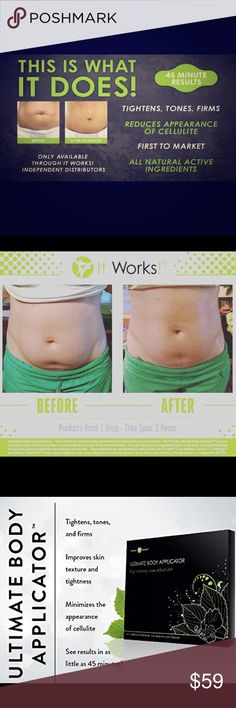 IT WORKS! WRAPS! The TRUTH about It Works wraps‼️‼️ ✔️ It has NOTHING to do with weight loss ✔️ It is NOT water weight loss ✔ It works BEST when you eat right, are active, and drink the recommended daily intake of water.  ✔️ It IS a plant based formula that your skin absorbs which results in tightening & toning of the skin. ⬇️⬇️⬇️⬇️⬇️⬇️⬇️⬇️⬇️⬇️⬇️⬇️ Comment below and start your journey!            4 wraps for $59!                                           DONT PURCHASE THIS LISTING! It works…