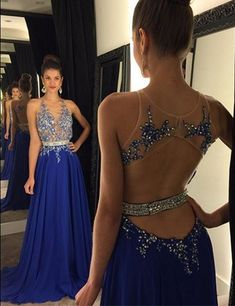 Gorgeous Jewel Beading Long Royal Blue Prom Dress Formal Evening Gown