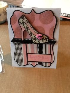 Shoe Card using Cricut Forever young Cricut Birthday Cards, Homemade Birthday Cards, Birthday Cards For Women, Cricut Cards, Happy Birthday Cards, Homemade Cards, Scrapbooking, Scrapbook Cards, Making Greeting Cards