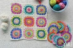 """Adorable carré Granny , aux rangs colorés , trouvé sur la page facebook de """" Colorfullmadeshop """" , accompagné de leurs grilles gratuites ! Je souhaite un bon crochet à toutes celles qui voudraient réaliser ce joli carré Granny ! Mes bijoux en vente :..."""