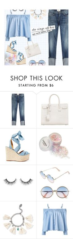 """Blue World ~ Moody Blues"" by idocoffee on Polyvore featuring Current/Elliott, Yves Saint Laurent, Ralph Lauren, Kate Spade, Sunday Somewhere, Chan Luu, Sandy Liang, saintlaurent, chanluu and PoloRalphLauren"