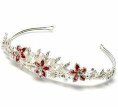 Red rhinestone bridal tiara wedding headband 776r usabride 89 95