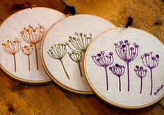 Botanical Embroidery Art Picture Seed Heads by SueNichollsDesigns