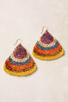 these beaded fan earrings from anthro are so much fun!