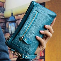 Elegant Genuine Leather Tote Wallet 6inch Phone Bag For iPhone Samsung Xiaomi Sony