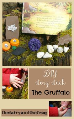 DIY Gruffalo story sack with bits to touch and feel as you read the story. Great for promoting re-telling the story afterwards too.