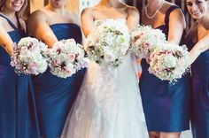 Pastel fall wedding bouquet - blush and white bouquets featuring roses, hydrangeas, baby's breath and berries. {Jessika Feltz Photography]