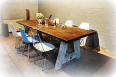 A Frame rustic bespoke handmade table from reclaimed wood