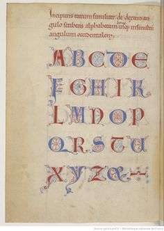 Beautiful complete alphabete in a french late 12th century manuscript.