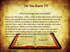 Do You Know? What is the longest verse in the Bible?