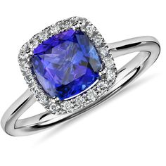 Blue Nile Tanzanite Cushion and Diamond Halo Ring (40 160 UAH) ❤ liked on Polyvore featuring jewelry, rings, blue, 14k ring, blue ring, blue tanzanite rings, tanzanite jewelry and blue nile jewelry