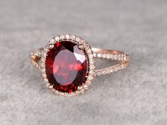 Big 8x10mm Natural Garnet Engagement ringDiamond but with white gold