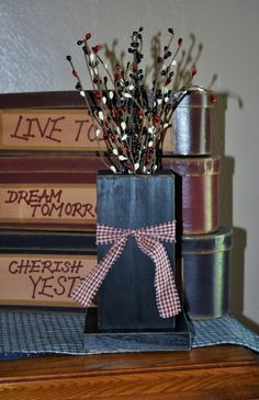 Primitive Wood Crafts | primitive crafts / Primitive Rustic Wood Country Vase/Holder by ...