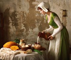 Looks like a c work of Vermeer, Dutch Baroque Medieval Market, Medieval Life, Medieval Fantasy, Historical Costume, Historical Clothing, Foto Picture, Indian Photoshoot, Renaissance Costume, Medieval Clothing