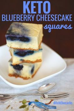 Oh my word. You have seriously got to try these uber easy keto blueberry cheesecake squares. All made with a stick blender and incredibly low in carbs. #sugarfree #lowcarb #keto | ditchthecarbs.com via @ditchthecarbs