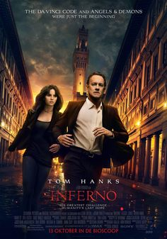 Inferno (October 28, 2016) an action, adventure, crime film with Tom Hanks. When Robert Langdon wakes up in an Italian hospital with amnesia, he teams up with Dr. Sienna Brooks, and together they must race across Europe against the clock to foil a deadly global plot. Directed by Ron Howard. Based on novel by Dan Brown. Stars: Tom Hanks, Felicity Jones, Irrfan Khan.