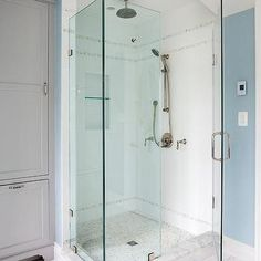 White and Gray Mosaic Shower Tiles