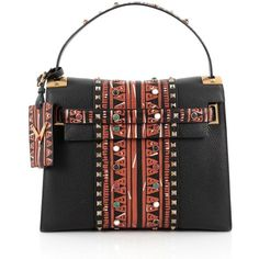 Pre-Owned Valentino My Rockstud Convertible Satchel Tribal Embellished... ($2,270) ❤ liked on Polyvore featuring bags, handbags, black, studded purse, real leather purses, leather handbags, satchel purses and leather satchel