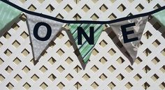 Navy Gray Mint Garland, Name Banner, Fabric Banner First Birthday, ONE Highchair Banner Baby Shower Woodland Deer, Boy Nursery, Flag Garland by FabricBuntingAccents on Etsy
