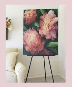 "Original large scale floral painting by artist Marsha Bowers of Zulim Bowers Designs Title ""Spring Floral"" 30""x40"" Oil on canvas"
