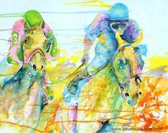 "Horse racing cutting board ""Charlestown Racing"" by Jen Callahan Jen Callahan Artwork Coastal Colors"